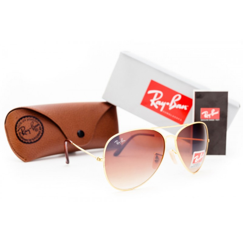 Очки Ray Ban Aviator Brown Gold 1147