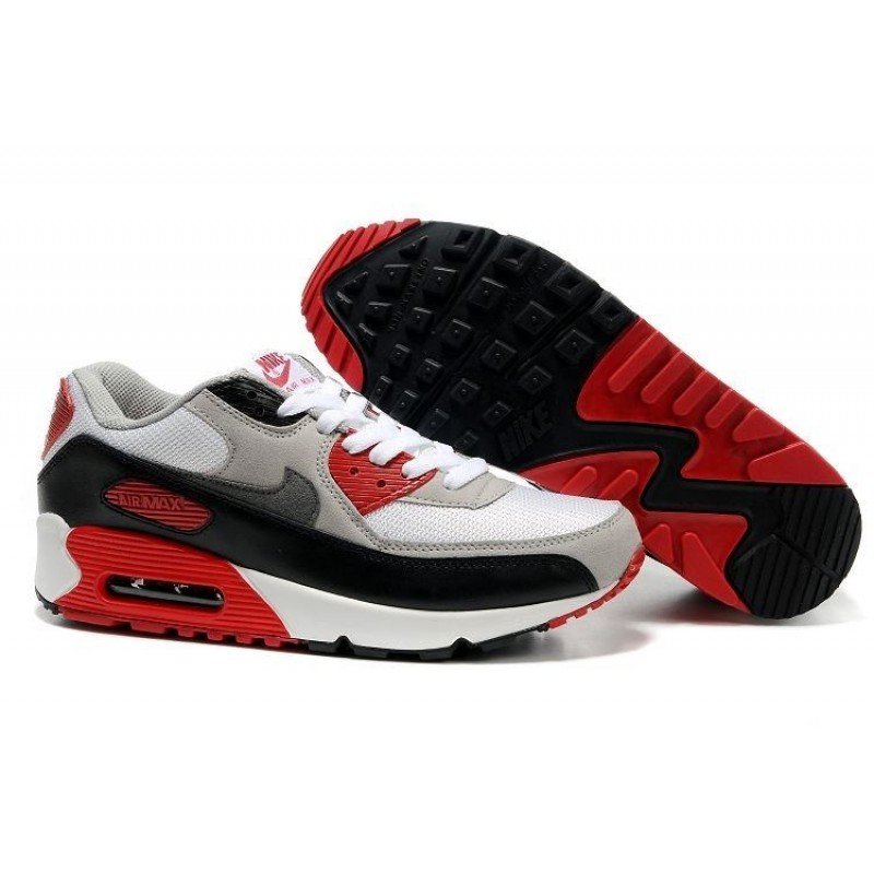 Nike Air Max 90 Black White Red женские кроссовки