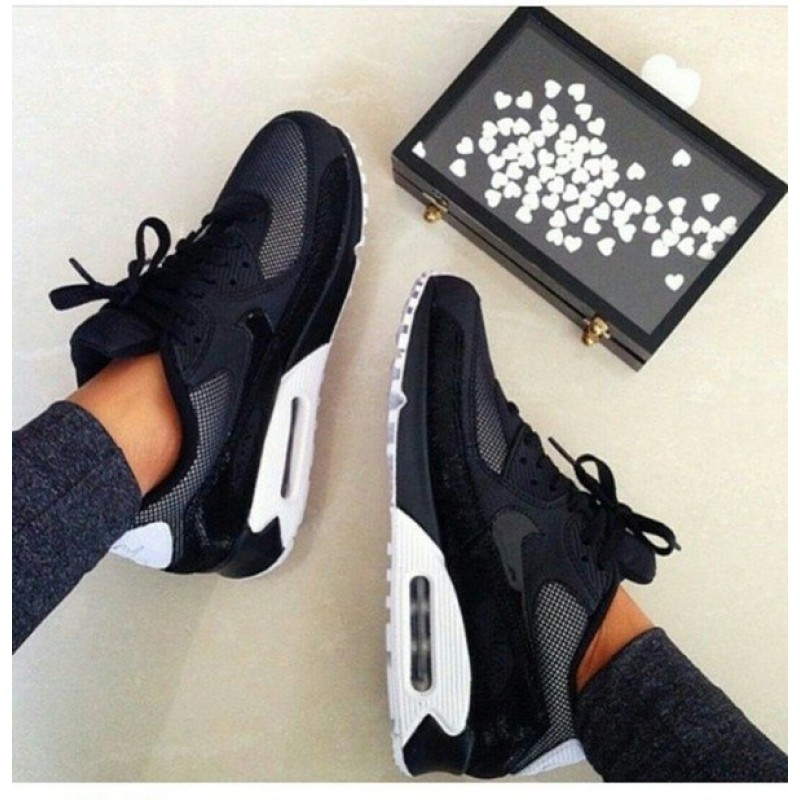 "Nike Air Max 90 Premium ""Black/White & Metallic Silver"" женские кроссовки"