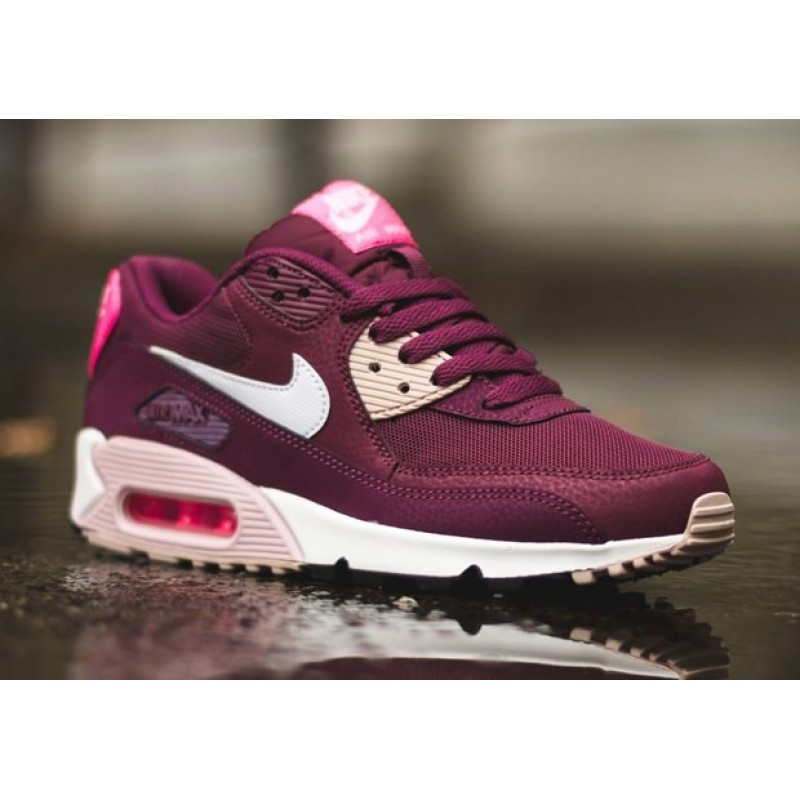 "Nike Air Max 90 Essential ""Burgundy/White/Pink"" женские кроссовки"