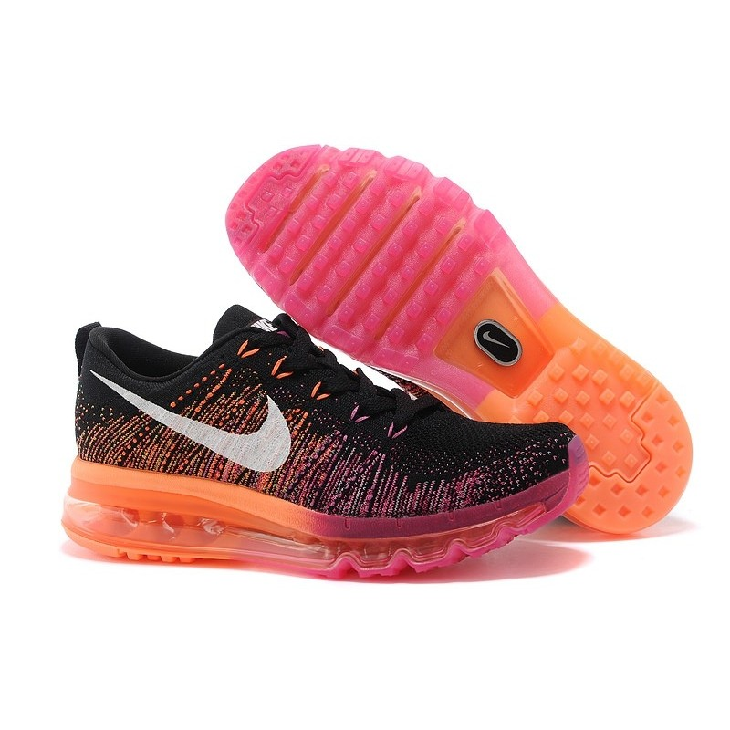 Nike Air Max Flyknit Black Orange женские кроссовки