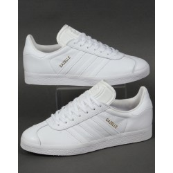 "Adidas Gazelle Leather Trainers ""White"""