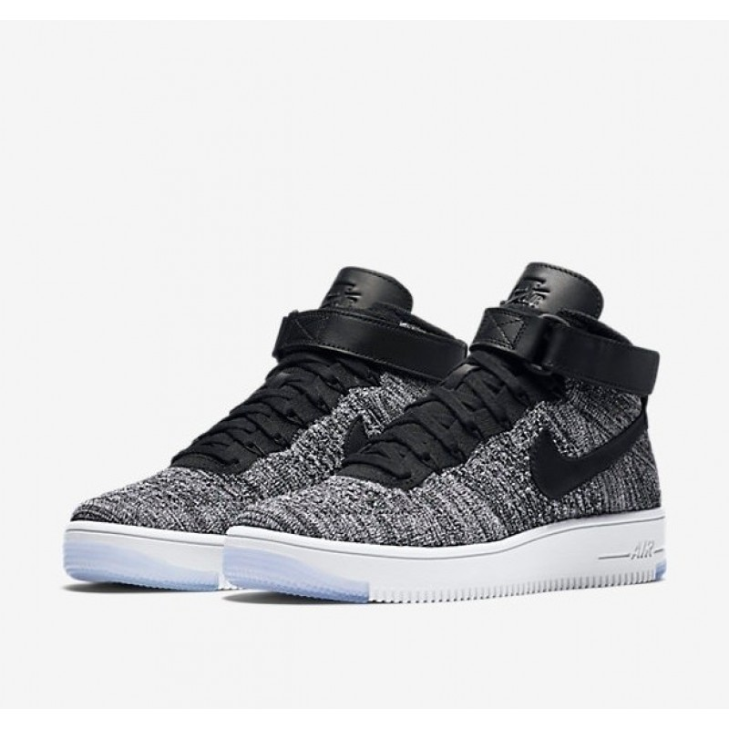Nike Air Force 1 Ultra Flyknit Black Grey мужские кроссовки