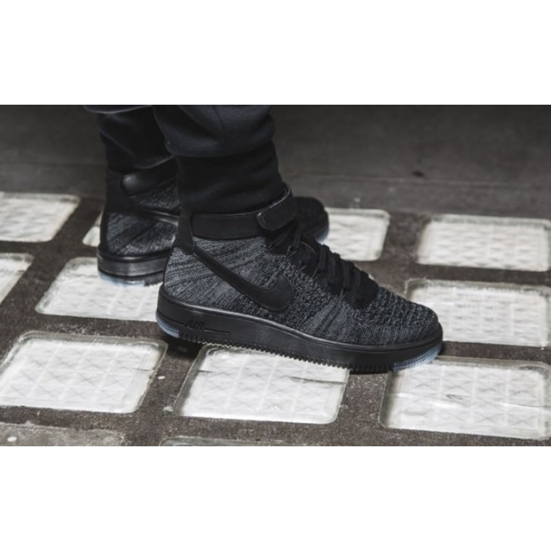 "Nike Air Force 1 Ultra Flyknit Mid ""Dark Grey/Black""  мужские кроссовки"