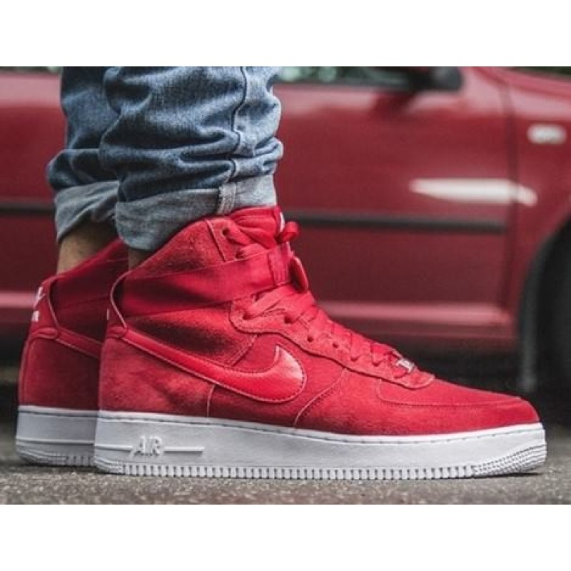 Nike Air Force High Red Suede мужские кроссовки