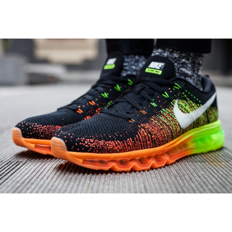 Nike Air Max Flyknit Green Orange мужские кроссовки