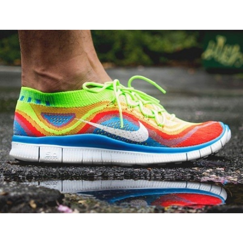 Nike Free Run Flyknit Blue Red Green мужские кроссовки