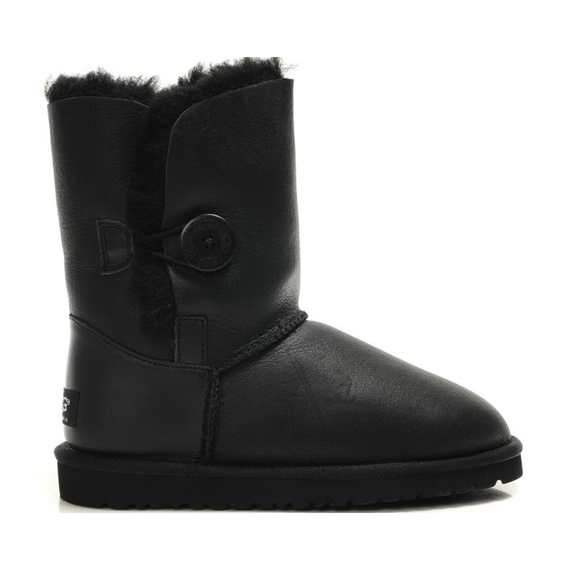 """UGG Baby Bailey Button Leather """"Black"""" угги детские"""